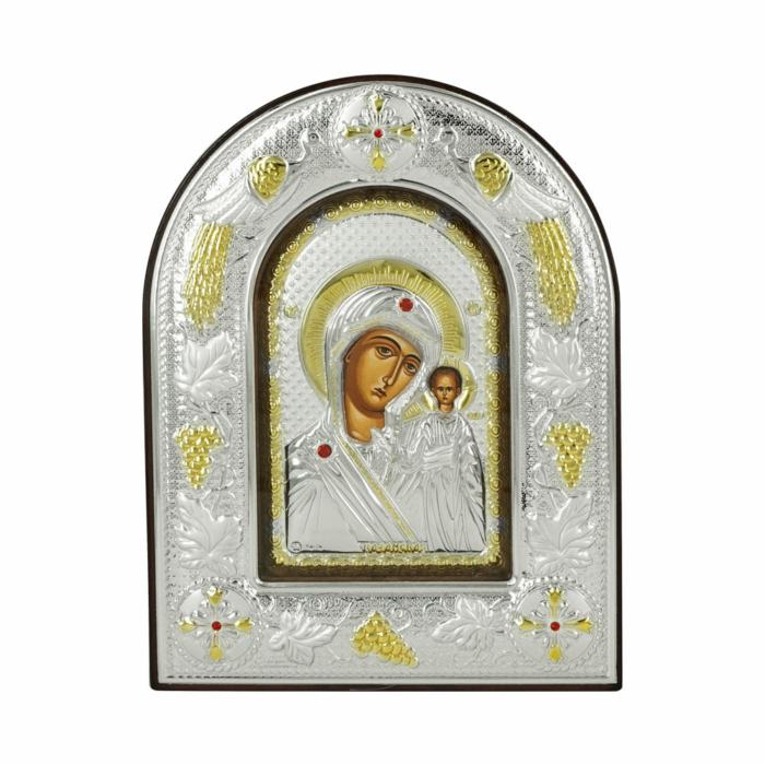 Εικόνα με την Παναγία με Επίχρυσες Λεπτομέρειες σε Καφέ Ξύλο Από Ασήμι MA/E3106BX-K
