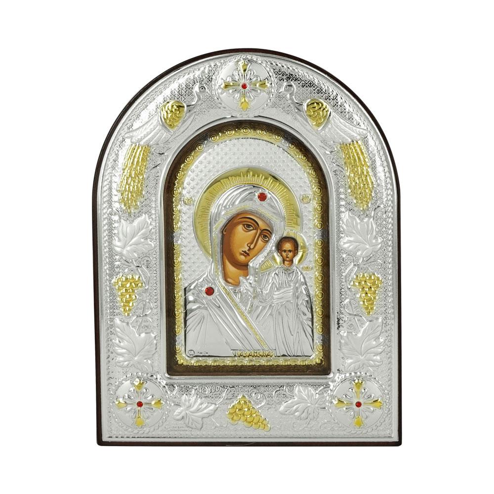 Εικόνα με την Παναγία με Επίχρυσες Λεπτομέρειες σε Καφέ Ξύλο Από Ασήμι RMA/E3106BX-K