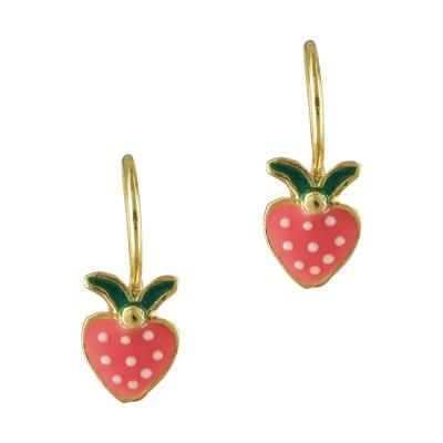 Επιχρυσωμένα Ασημένια Παιδικά Σκουλαρίκια Με Φράουλα PSK364
