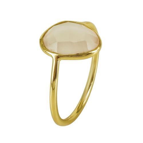 Επιχρυσωμένο Δαχτυλίδι Με Πολύχρωμες Πέτρες Από Ασήμι DX669