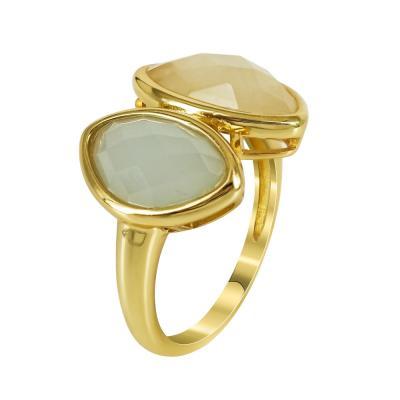 Επιχρυσωμένο Δαχτυλίδι Με Πολύχρωμες Πέτρες Από Ασήμι DX673