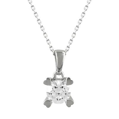 Μενταγιόν Με Πέτρες Από Λευκόχρυσο K14 M97716