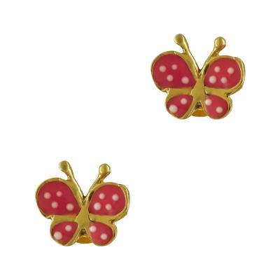 Παιδικά Σκουλαρίκια Με Πεταλούδα Από Επιχρυσωμένo Ασήμι PSK375