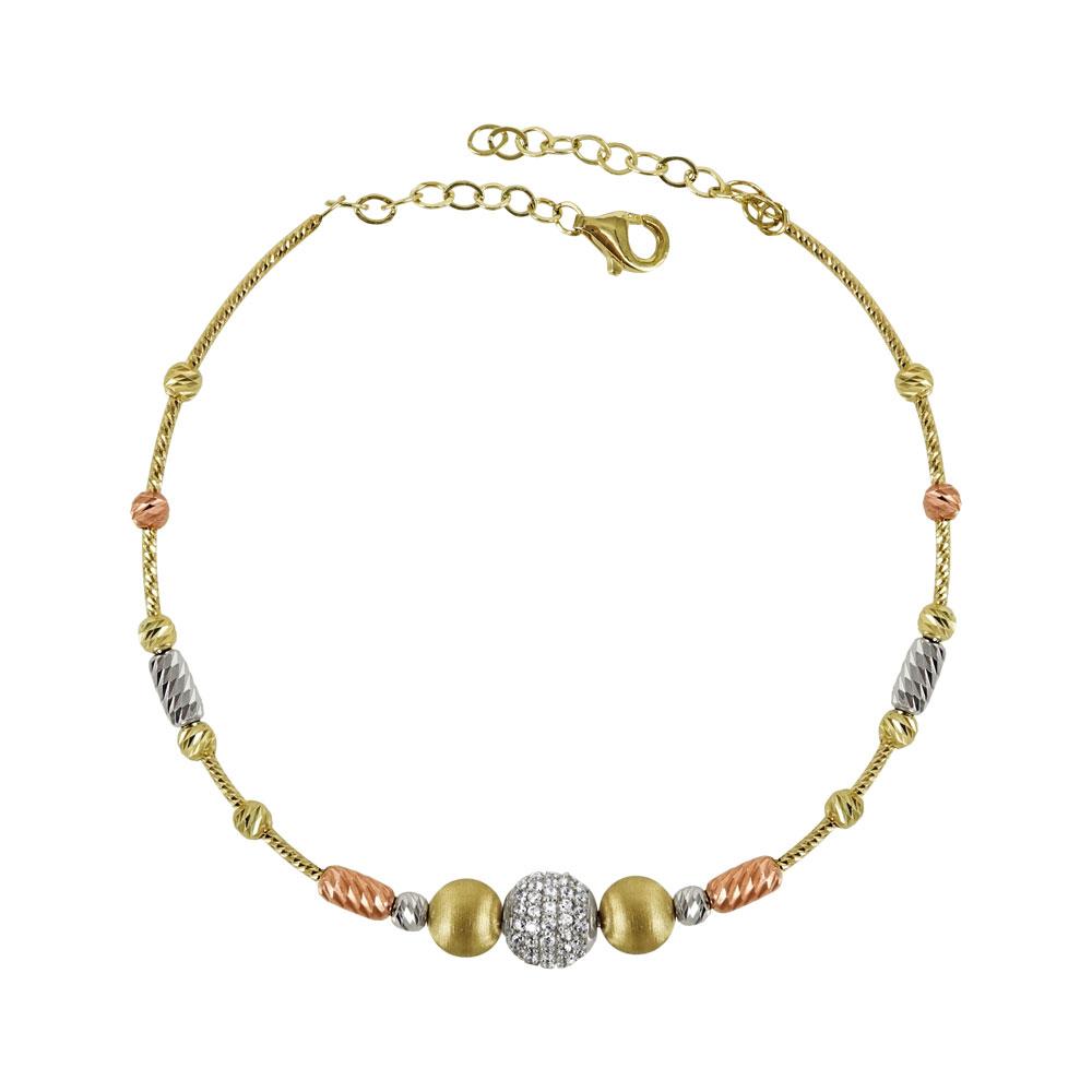 Βραχιόλι Με Λευκές Και Ροζ Χρυσές Λεπτομέρειες Aπό Κίτρινο Χρυσό K14 VR94920