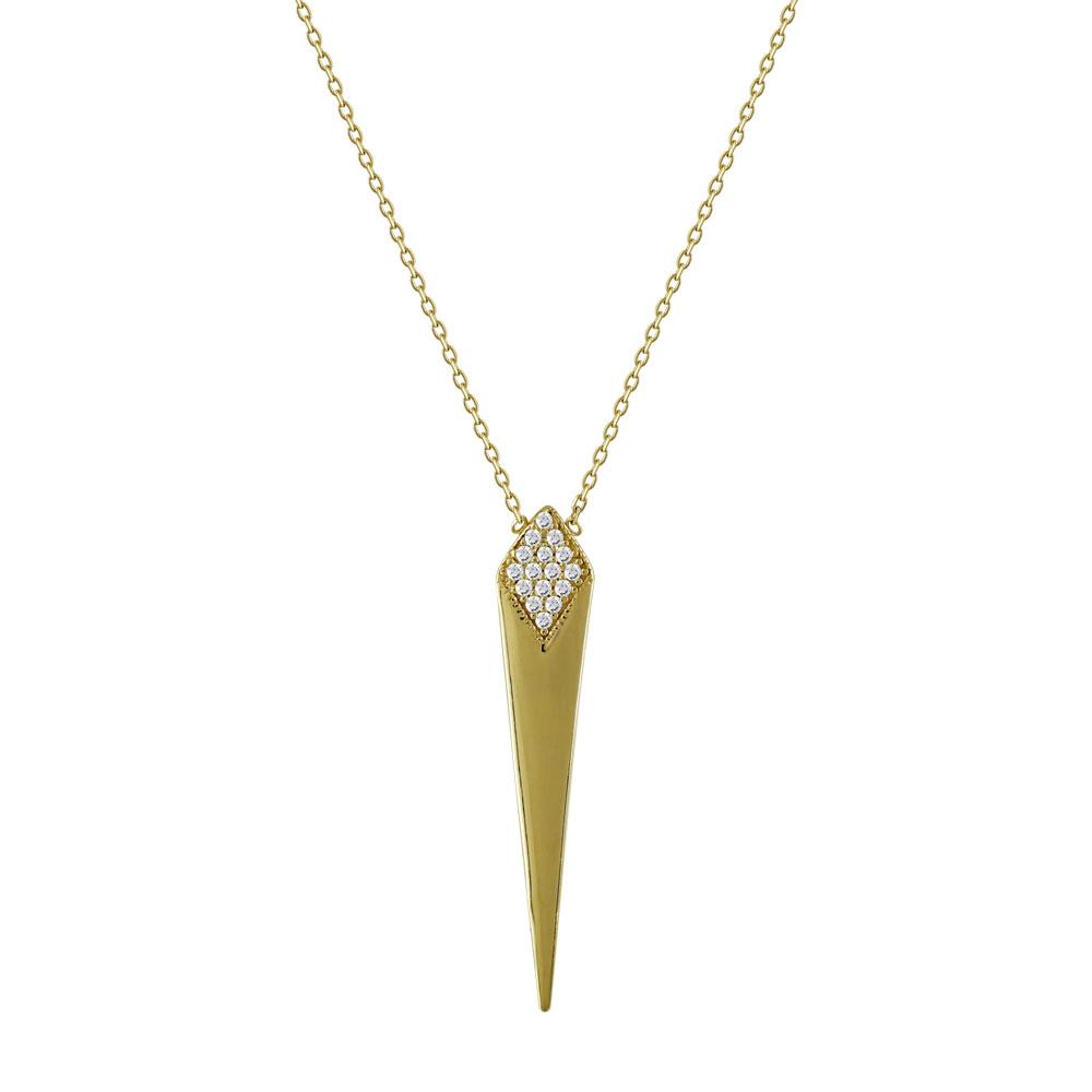 Μενταγιόν Καρφί Με Πέτρες Από Κίτρινο Χρυσό K14 M95224