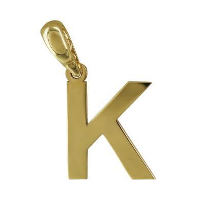 """Μονόγραμμα Μενταγιόν """"Κ"""" Από Κίτρινο Χρυσό Κ14 MG165"""