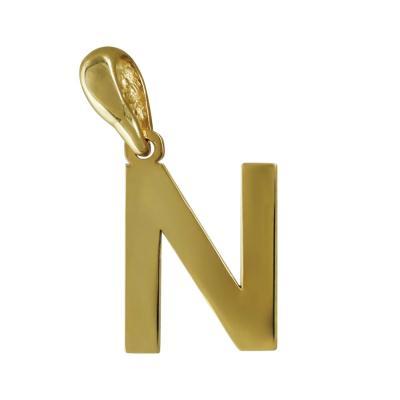 """Μονόγραμμα Μενταγιόν """"Ν"""" Από Κίτρινο Χρυσό Κ14 MG166"""