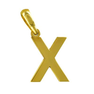 """Μονόγραμμα Μενταγιόν """"Χ"""" Από Κίτρινο Χρυσό Κ14 MG172"""