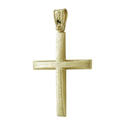 Σταυρός Βάπτισης Ανδρικός Σε Κίτρινο Χρυσό 14 Καρατίων ST2529