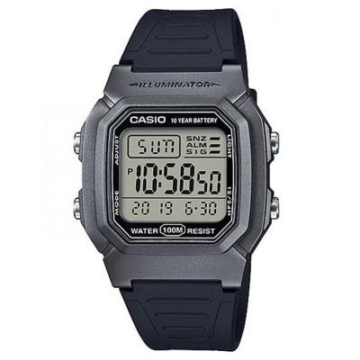 CASIO Collection Dual Time Chronograph Black Rubber Strap W-800HM-7AVEF