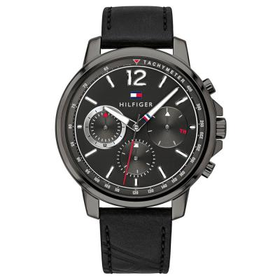 Τοmmy HILFIGER Landon Multi-Eye Black Leather Strap 1791533