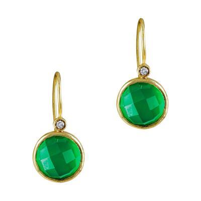 Σκουλαρίκια Με Πράσινο Χαλκηδόνιο Από Επιχρυσωμένο Ασήμι SK859