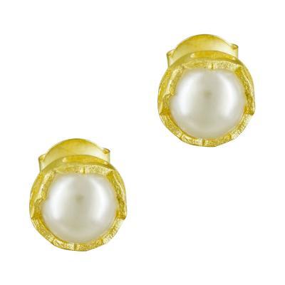Σκουλαρίκια Με Μαργαριτάρι Από Επιχρυσωμένο Ασήμι SK862