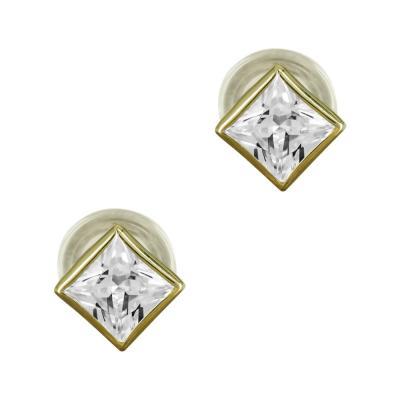 Σκουλαρίκια Τετράγωνα Με Πέτρες Από Κίτρινο Χρυσό Κ9 SK827