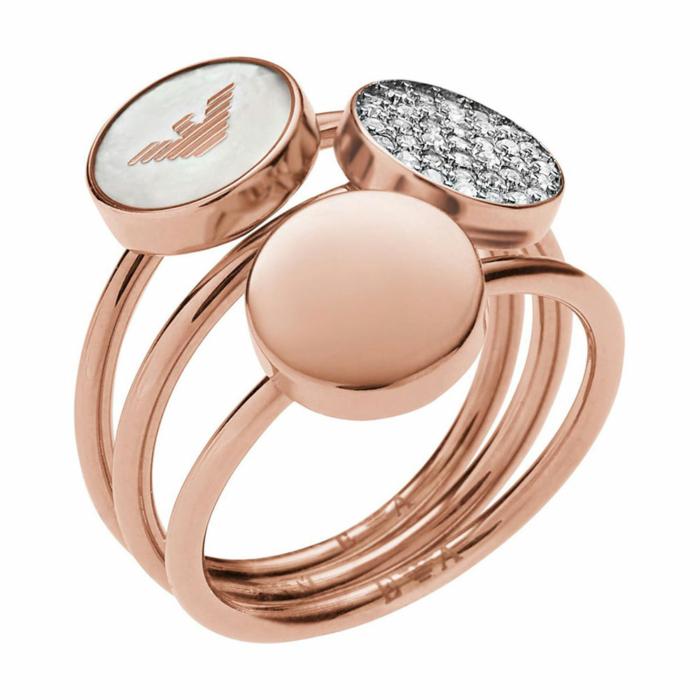 EMPORIO ARMANI Γυναικείο Δαχτυλίδι Από Ροζ Επιχρυσωμένο Ατσάλι EGS2310221