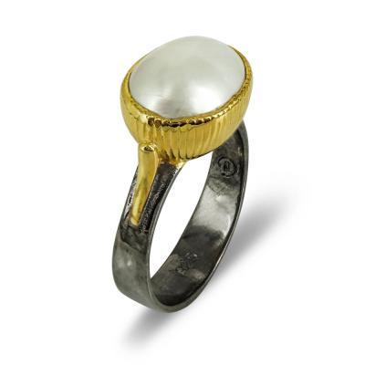 Δαχτυλίδι Με Μαργαριτάρι Από Επιχρυσωμένο Ασήμι DX707