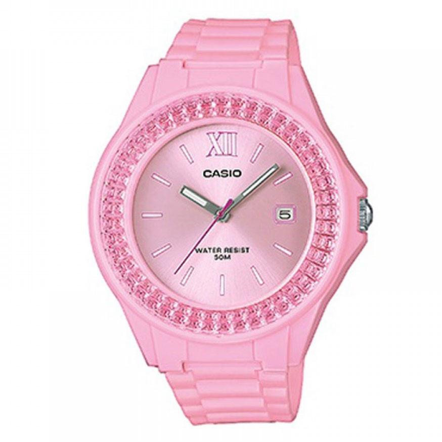 CASIO Collection Crystals Pink Rubber Strap LX-500H-4E2VEF