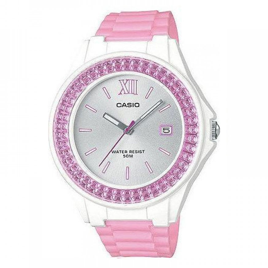 CASIO Collection Crystals Pink Rubber Strap LX-500H-4E3VEF