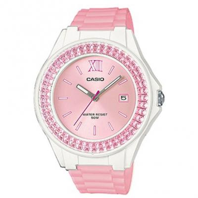 CASIO Collection Crystals Pink Rubber Strap LX-500H-4E5VEF