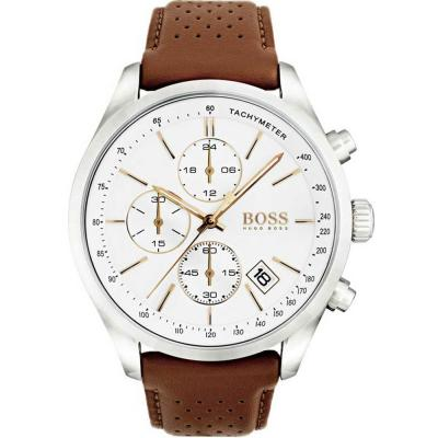 HUGO BOSS Grand Prix Brown Leather Strap 1513475