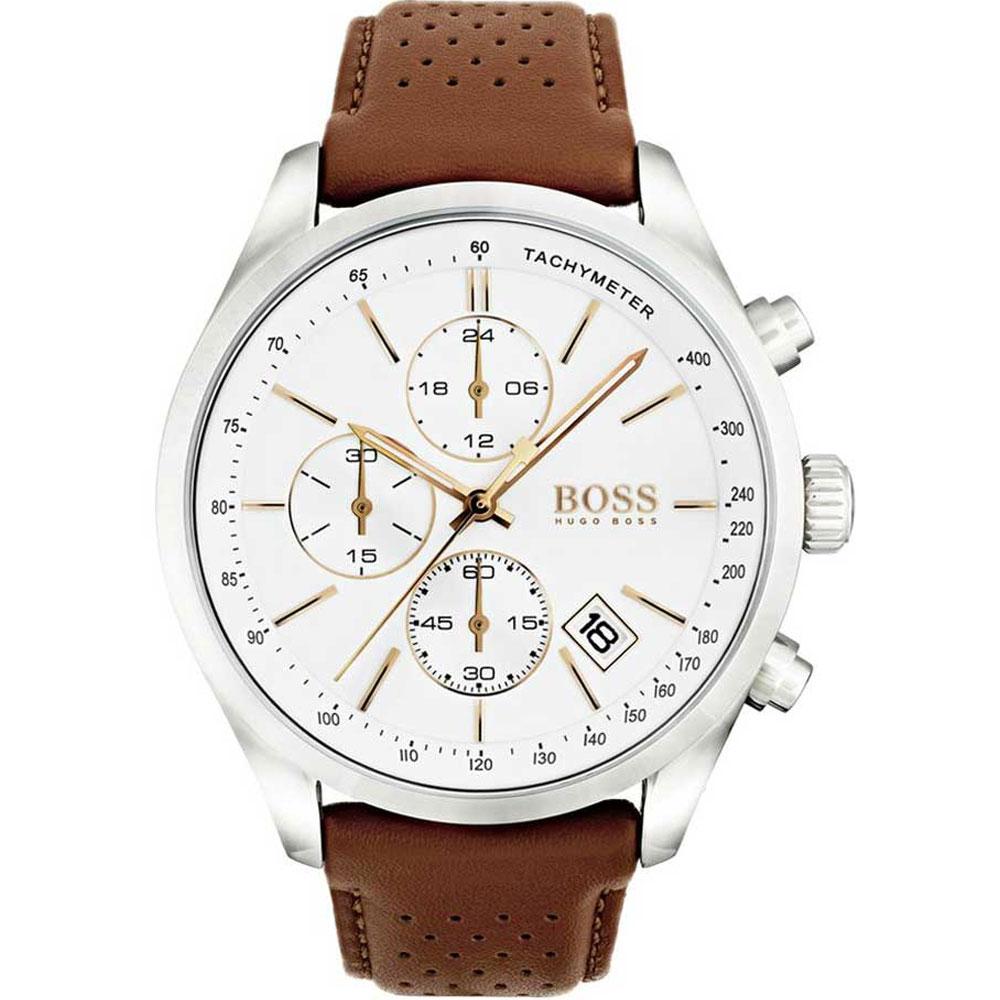 HUGO BOSS Grand Prix Brown Leather Strap 1513475