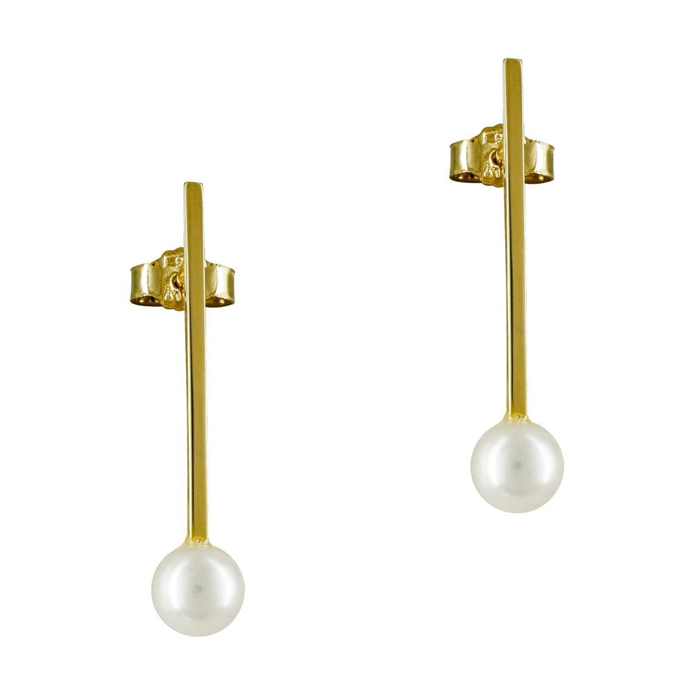 Σκουλαρίκια Με Φυσικά Μαργαριτάρια Από Κίτρινο Χρυσό K14 SK866