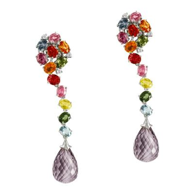 Σκουλαρίκια Με Πολύχρωμες Πέτρες Και Διαμάντια Aπό Λευκόχρυσο K18 SK837