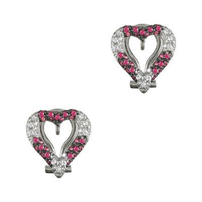 Σκουλαρίκια Καρδούλες Με Γρανάδα Από Λευκόχρυσο Κ14 SK899