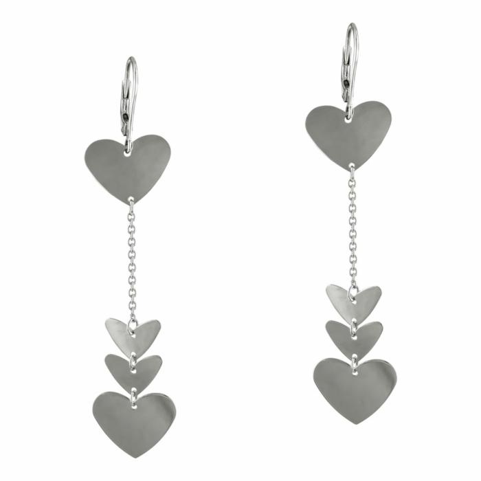 Σκουλαρίκια Καρδούλες Από Λευκόχρυσο Κ14 SK895