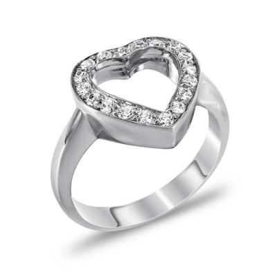 Δαχτυλίδι Καρδιά Από Λευκόχρυσο Κ14 DX731