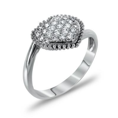 Δαχτυλίδι Καρδιά Από Λευκόχρυσο Κ14 DX732