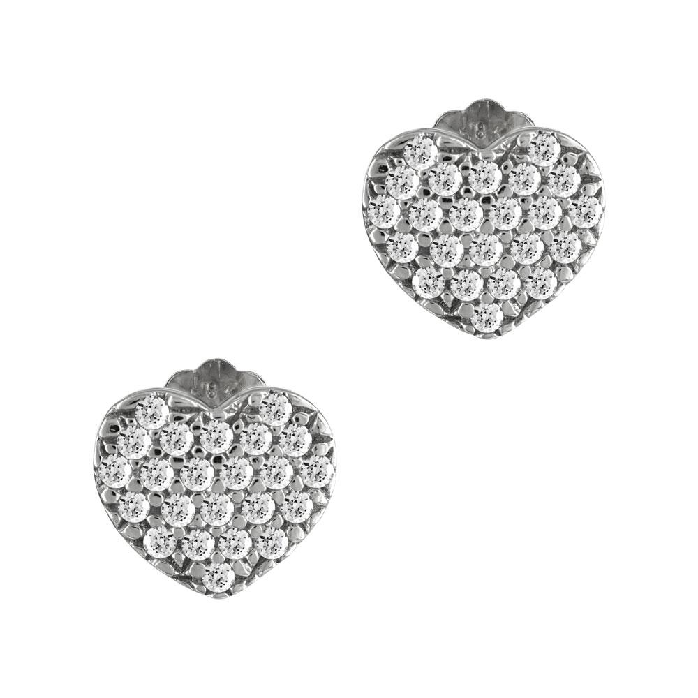 Σκουλαρίκια Καρδούλες Από Λευκόχρυσο Κ14 SK894