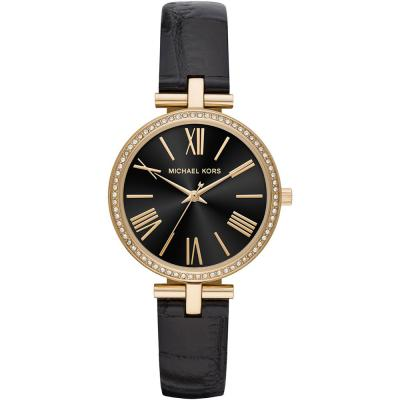 MICHAEL KORS Maci Crystals Black Leather Strap MK2789
