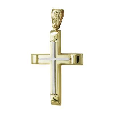 Σταυρός Βάπτισης Ανδρικός Σε Δίχρωμο Χρυσό Κ14 Καρατίων ST2521