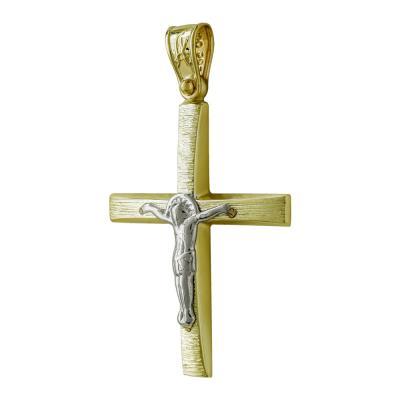 Σταυρός Βάπτισης Ανδρικός Σε Δίχρωμο 14 Καρατίων ST2533