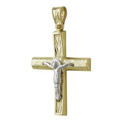 Σταυρός Βάπτισης Ανδρικός Σε Δίχρωμο 14 Καρατίων ST2537