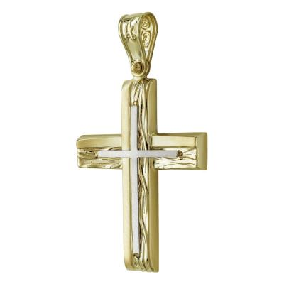 Σταυρός Βάπτισης Ανδρικός Σε Δίχρωμο 14 Καρατίων ST2549