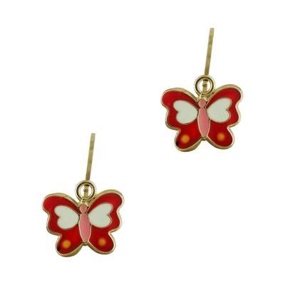 Παιδικά Σκουλαρίκια Με Πεταλούδες Από Κίτρινο Χρυσό Κ9 SK397