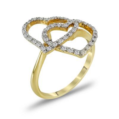 Δαχτυλίδι Καρδιές Από Κίτρινο Χρυσό Κ14 DX733