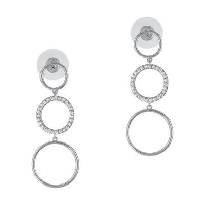 Σκουλαρίκια Κρεμαστά Με Κύκλους Από Ατσάλι SK869