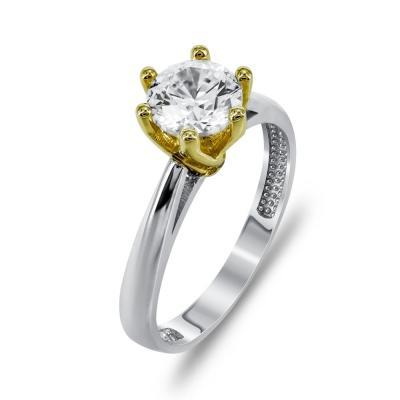 Μονόπετρο Δαχτυλίδι Από Δίχρωμο Χρυσό K14 DX709
