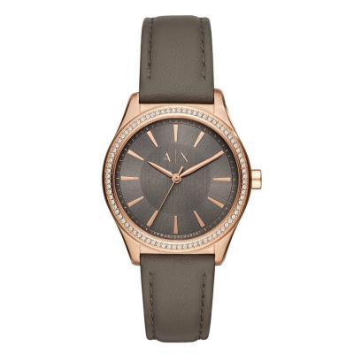 ARMANI EXCHANGE Nicolette Crystals Grey Leather Strap AX5455