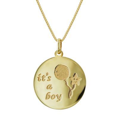Μενταγιόν It's a Boy Από Κίτρινο Χρυσό K14 M462