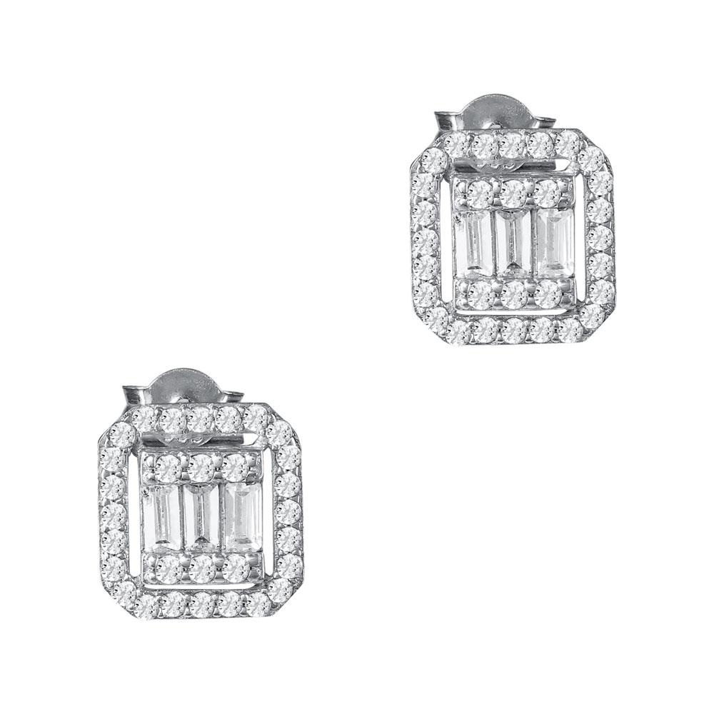 Σκουλαρίκια Mε Πέτρες Από Λευκόχρυσο Κ14 SK99979