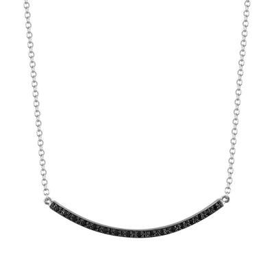 Κολιέ Ράβδος Με Μαύρες Πέτρες Από Λευκόχρυσο K9 KL764