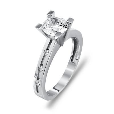 Μονόπετρο Δαχτυλίδι Από Λευκόχρυσο K14 DX00311