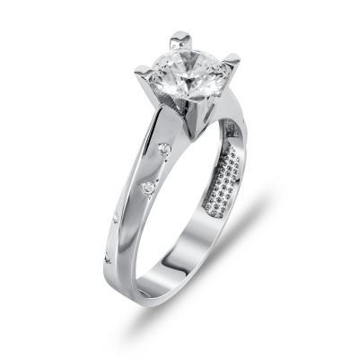 Μονόπετρο Δαχτυλίδι Από Λευκόχρυσο K14 DX00085