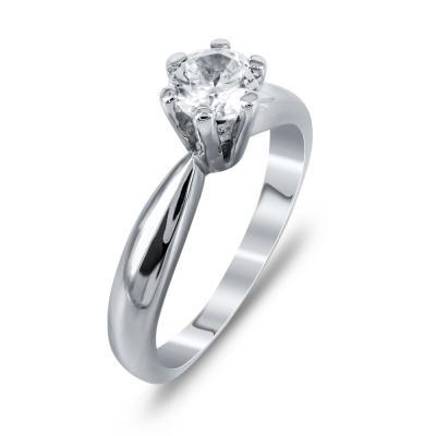Μονόπετρο Δαχτυλίδι Από Λευκόχρυσο Κ14 DX726