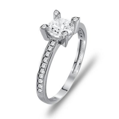 Μονόπετρο Δαχτυλίδι Από Λευκόχρυσο K14 DX90140