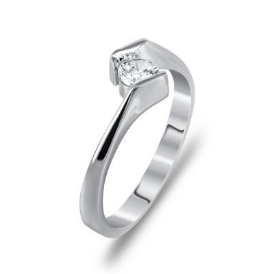 Μονόπετρο Δαχτυλίδι Από Λευκόχρυσο K14 DX91792